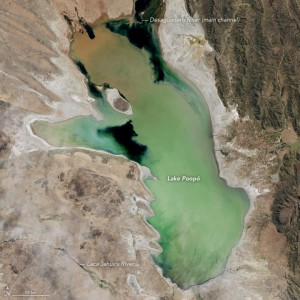 Lake Poopó in April, 2013. NASA Earth Observatory images by Jesse Allen, using Landsat data from the U.S. Geological Survey.
