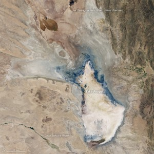 Lake Poopó in January, 2016. (Credit: NASA Earth Observatory images by Jesse Allen, using Landsat data from the U.S. Geological Survey)