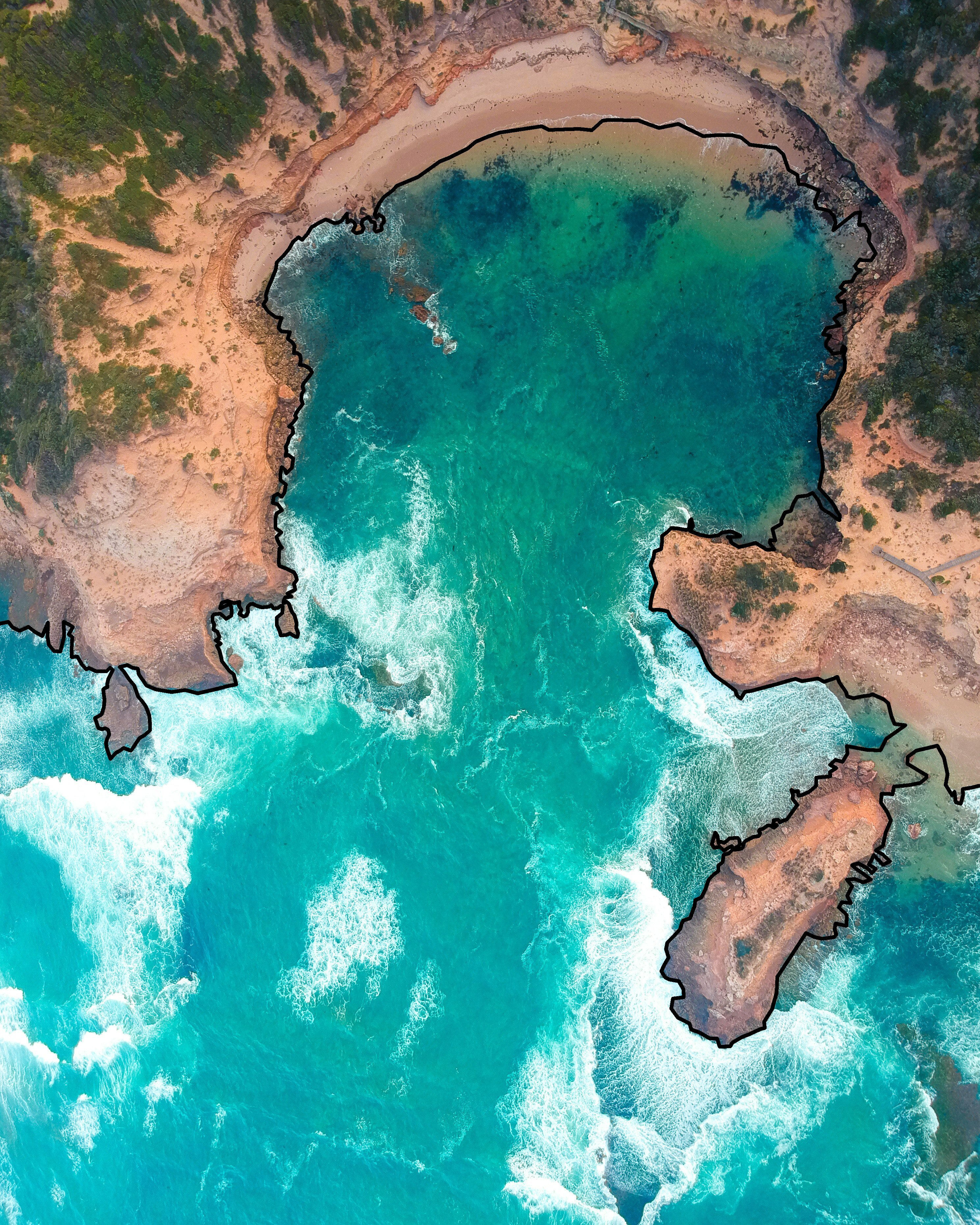 Aerial Photo of Aerial Coastine with Edge Detection Mask