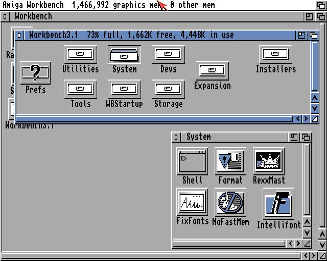 Amiga Workbench showing 'Installers' drawer