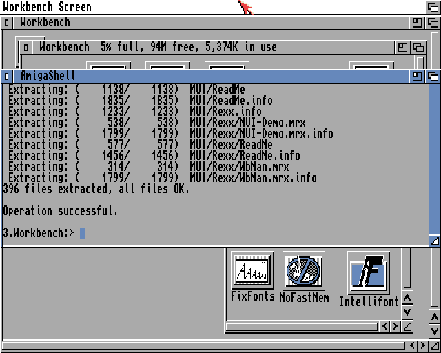 Amiga Workbench showing completed MUI extraction
