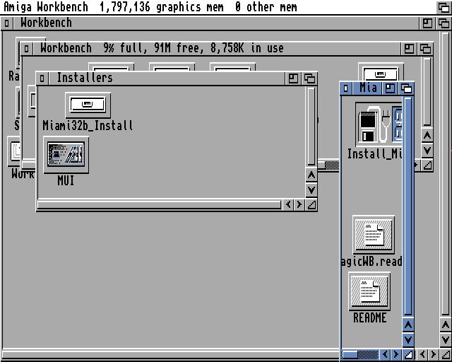 Amiga Workbench showing 'Miami32b_Install' drawer