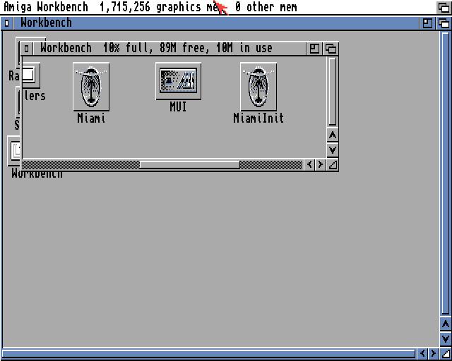 Amiga Workbench showing Miami icons