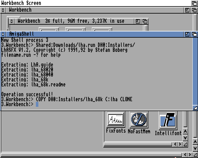 Amiga Workbench extracting and copying lha