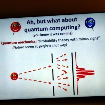 Scott Aaaronson's slide on quantum mechanics as probability with minus signs