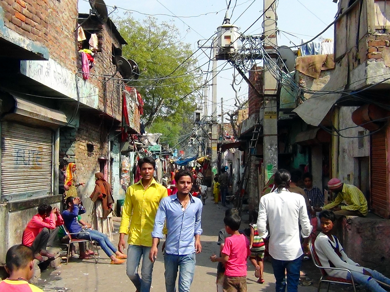 View from a street in Kathputli colony