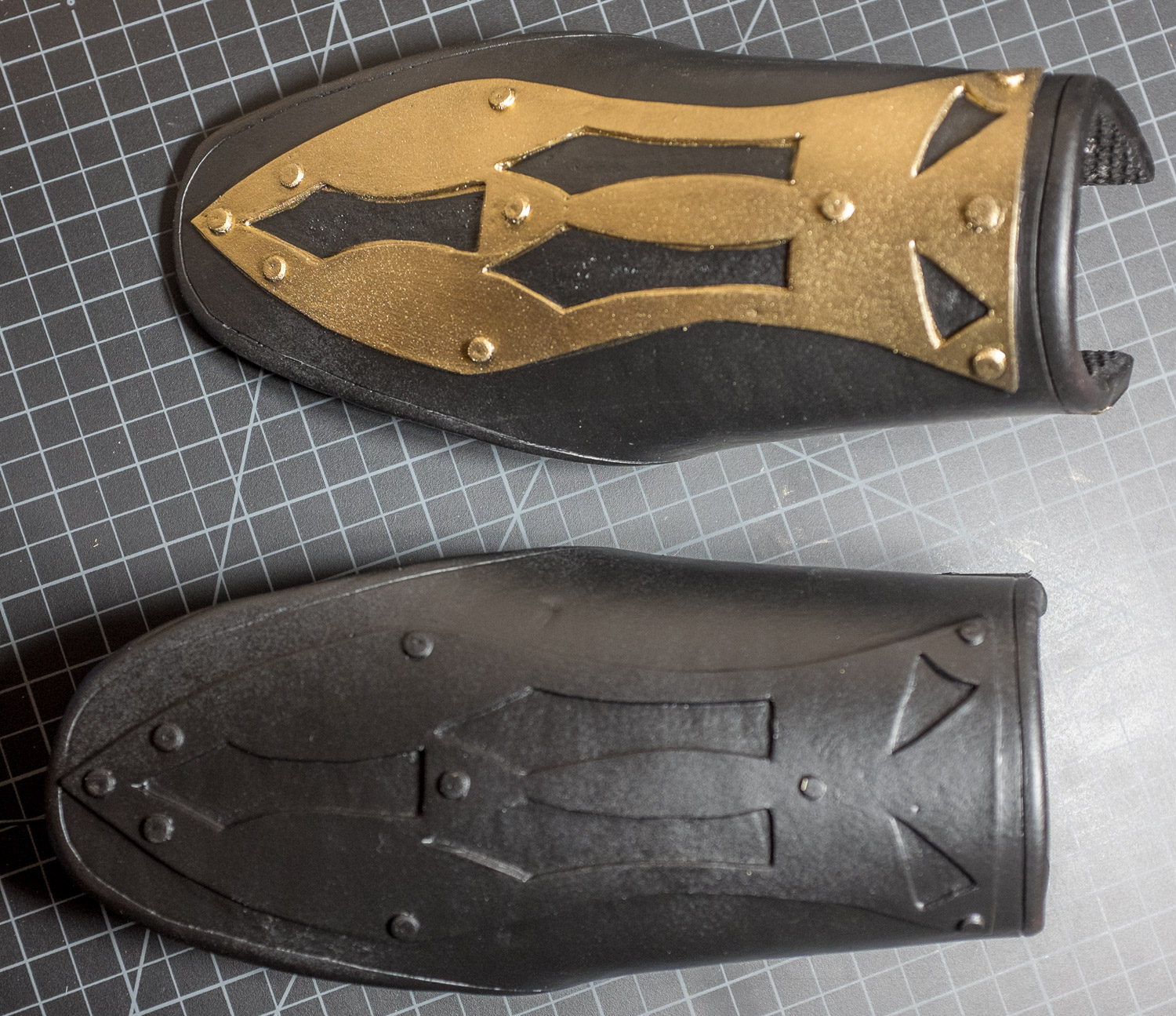 Bracers after Plasti Dip and spray paint