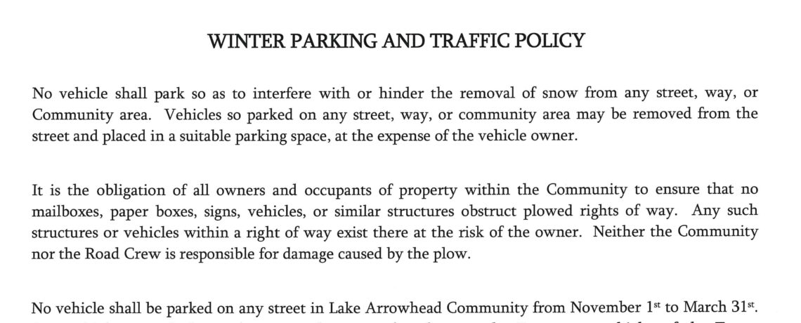 Winter Parking and Traffic Policy