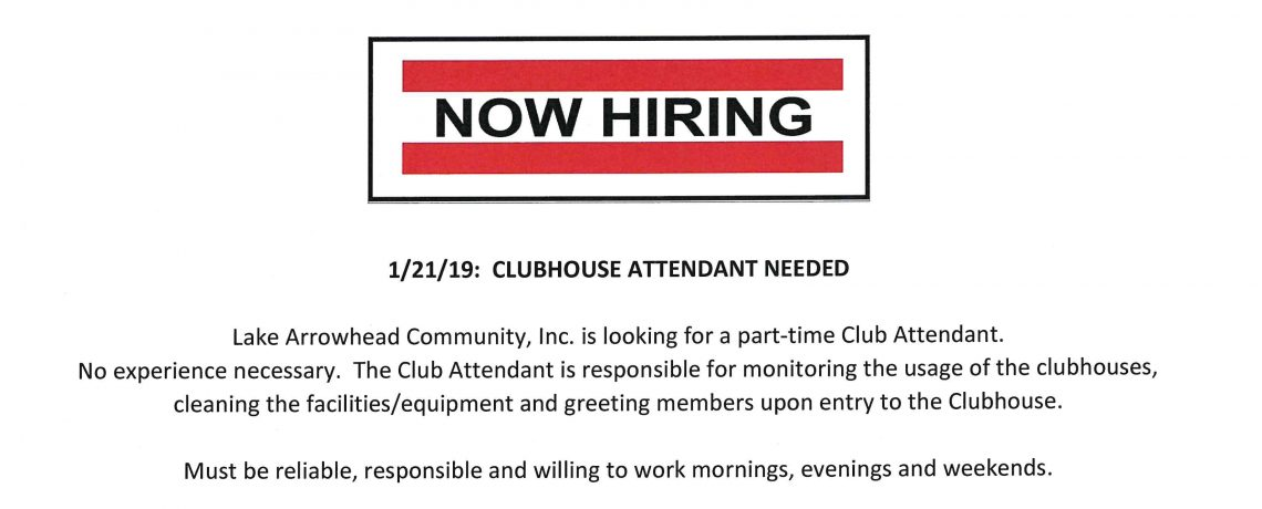 Part-time Clubhouse Attendant Needed