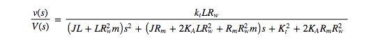 Plant Model Transfer Function.