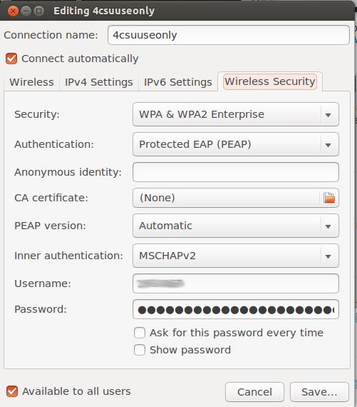 Screenshot of wireless settings