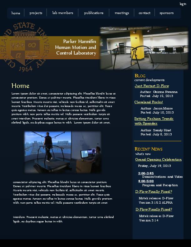 Prototype of website design