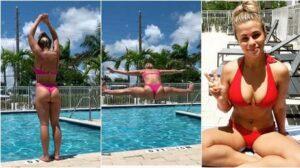 'Sun's out، buns out': MMA pin-up VanZant تقوم بقفزة في حوض السباحة البيكيني وهي تخطط للخطوة التالية بعد انتهاء صفقة UFC (فيديو)