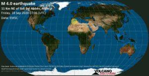 معلومات الزلزال: زلزال M4.0 يوم الجمعة 18 سبتمبر 2020 07:06 UTC / 11 Km NE من سيدي بلعباس ، الجزائر