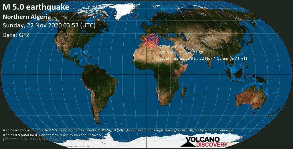 Moderate mag. 5.0 earthquake  - 15 km northeast of Didouche Mourad, Hamma Bouziane, Wilaya de Constantine, Algeria, on Sunday, 22 Nov 4.53 am (GMT +1)