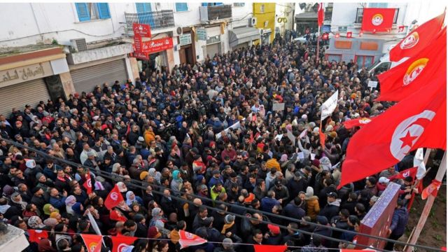 متظاهرون في تونس