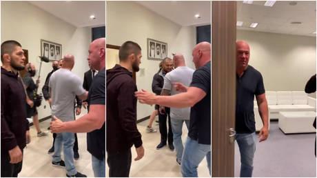 `` هنا نذهب '': دانا وايت ترسل مشجعي UFC في حالة جنون من خلال نشر لقطات وهو يدخل محادثات مع البطل خبيب نورماغوميدوف (فيديو)