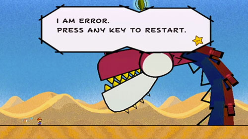 I AM ERROR. PRESS ANY KEY TO RESTART.